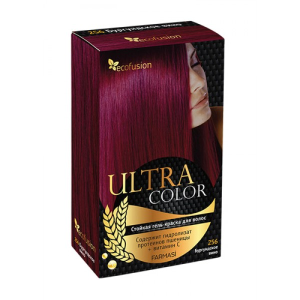 Cтойкая гель-краска для волос Ultra Color, 256 Бургундское вино ✿ Ecofusion ✿ 100% Оригинал
